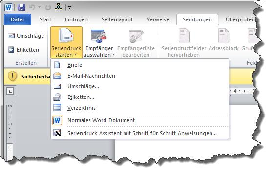 Briefe Und Sendungen Word 2010 : Serienbrief in microsoft word maxpro handbuch